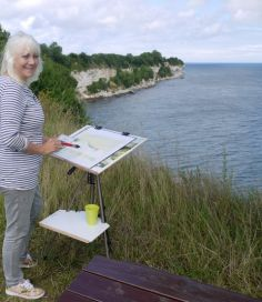 Outdoor painting, watercolour, Stevns Klint, world heritage in Denmark